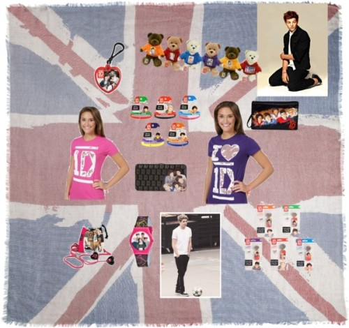 One Direction Set by itsugar featuring a a t shirtA t shirt / Top / Hinge wallet / Clutch / Digital watch / Tech accessory / French Connection Union Jack Scarf, $30 / One Direction Collectible Bears / One Direction Keychain / One Direction Dog Tag / One Direction Wrist Band Set