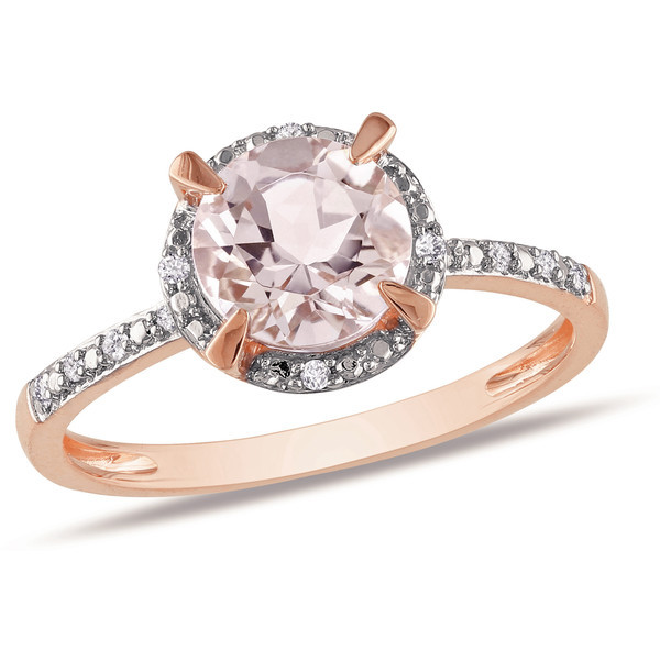 1 1/5 Carat Morganite and Diamond 10K Pink Gold Ring   ❤ liked on Polyvore (see more diamond jewelry)