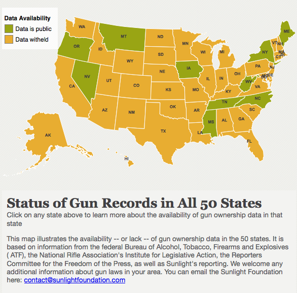 Majority of states prohibit access to gun records  Following a New York newspaper's controversial decision to publish the names and address of local gun owners, state legislators are moving to make such information private, even as a Sunlight Foundation analysis shows that in a majority of states, the data are already off the public record.