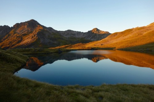 Lake Angelus reflects sunrise on endless backcountry-running terrain in Nelson Lakes National Park on New Zealand's South Island. Photo: Meghan Hicks