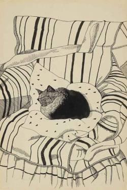 sweetvisage:  Lucian Freud: The Sleeping Cat (1922)