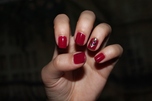 Maroon Aztec Nails