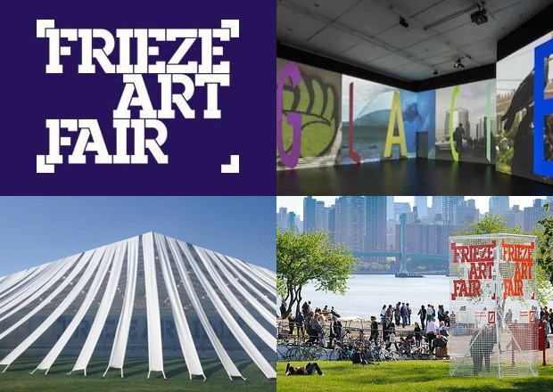 "FRIEZE ART FAIR Kicking off today, the second edition of Frieze New York brings this international contemporary art fair to Randall's Island. Running through Monday, the custom structure designed by SO–IL architects takes a pop-up to the next level overlooking the East River. See some 180 exhibiting galleries canvassing the globe from Argentina to New Zealand, as well as The Sculpture Park featuring new work like Paul McCarthy 's 80-foot inflatable ""Balloon Dog""and Fiona Connor's ""Style Guide Spa.""Check out daily talks and local food vendors, like Roberta's, The Fat Radish, Blue Bottle Coffee, and more. Frieze New York photo via"