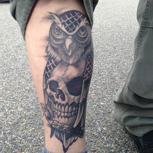 Ran into this healed tattoo #owl #skull #tattoo - gonna get more background