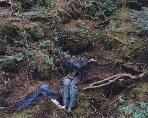 jewist:  The Aokigahara Forest is a lonely place to die. So dense is the vegetation at the foot of Japan's Mount Fuji, it is all too easy to disappear among the evergreens and never be seen again. Each year the authorities remove as many as 100 bodies found hanging at the country's suicide hotspot – but others can lie undiscovered for years. After the novel Kuroi Jukai was published, in which a young lover commits suicide in the forest, people started taking their own lives there at a rate of 50 to 100 deaths a year. The site holds so many bodies that the Yakuza pays homeless people to sneak into the forest and rob the corpses. The authorities sweep for bodies only on an annual basis, as the forest sits at the base of Mt. Fuji and is too dense to patrol more frequently.
