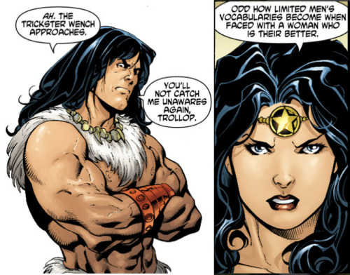 gailsimone:  ladynerd:  Wonder Woman (2006-2011) #22   Barbarian Diana takes no shit from Claw.  :)  One of the many scenes that make your Wonder Woman run amazing.