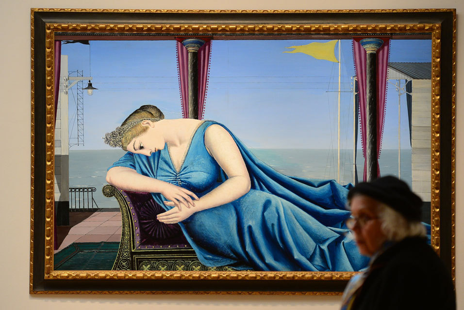 Eloge de la melancolie by Paul Delvaux is on display during a preview of Sothebys Impressionist and Modern Art sales in New York, May 3, 2013.