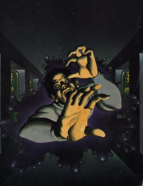 Cover to Michael Moorcock's The Black Corridor (UK Mass Market Paperback ed., Mayflower, 1973), Bob Haberfield.