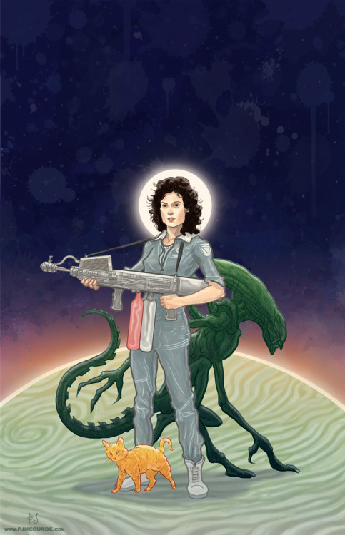 gamefreaksnz:  Ripley, Xenomorph & Jonesy Available as a print here