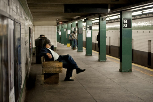 '14th & snooze'-2012, New York. An old mate catching z's at 14th & 6th Ave subway station.