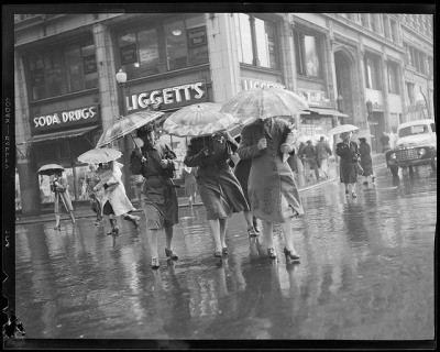 """The Windy Corner"" of Tremont and Boylston during spring shower by Boston Public Library on Flickr."