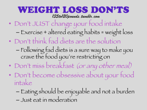 135to120pounds:  A summary of the article: The Dos and Don'ts of Weight Loss