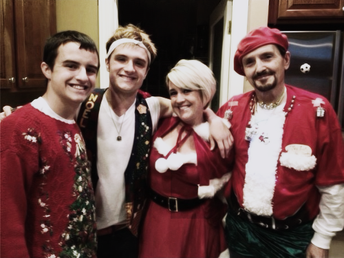 Josh with his family on Christmas.