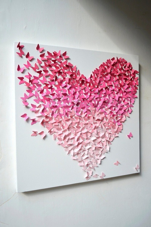 a—smile—a—day:  Pink Ombre Butterfly Wall Art on @weheartit.com - http://whrt.it/XBBjvK
