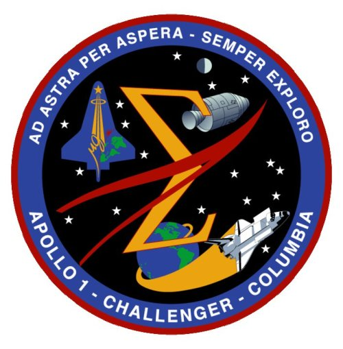 for-all-mankind:  Spaceflight Memorial Patch. This emblem, honoring the fallen crews of Apollo 1, Challenger, and Columbia, hangs on the wall of Mission Control in Houston.  Wow. You know that feeling of tears welling up? That.