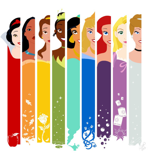 cartooncookie:   A Princess technicolor Rainbow.  Just for fun. I'm thinking about putting this on a t-shirt. I need a little more color in my collection.  I know I haven't updated in a while. My apologies for that. I've been working a lot more on animations, and those take me longer to knock out. For now, Enjoy