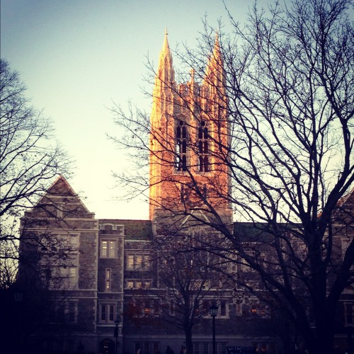 It's the last first day of my last semester at Boston College, and all I could think about this morning (wide awake in bed long before my first class) was the above photograph I took late last semester of the sun setting on Gasson Hall. It was 4:20 p.m. on either a Monday or Wednesday. I was walking out from my FAST II class, going through the usual motions of petty complaining about how difficult the class was with a friend. And then right outside Fulton Hall, I saw that, stopping me for a good couple of minutes.