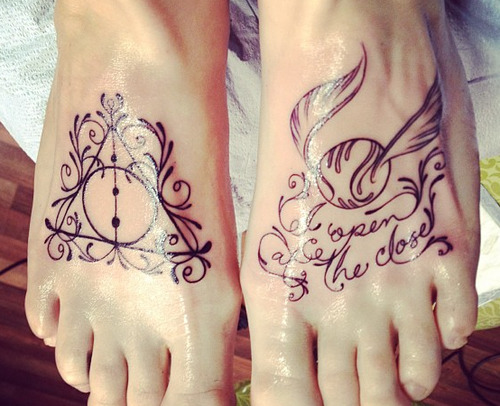 fuckyeahtattoos:  Deathly Hallows and Golden Snitch foot tattoos.Designed and tattooed by the amazing Jessica Ann White at Reclamare Gallery and Custom Tattoo in Sacramento, CA. They are perfect and exactly what I wanted. The Harry Potter story will always hold a special place in my heart… and on my feet. ;)    Oh these are really beautiful