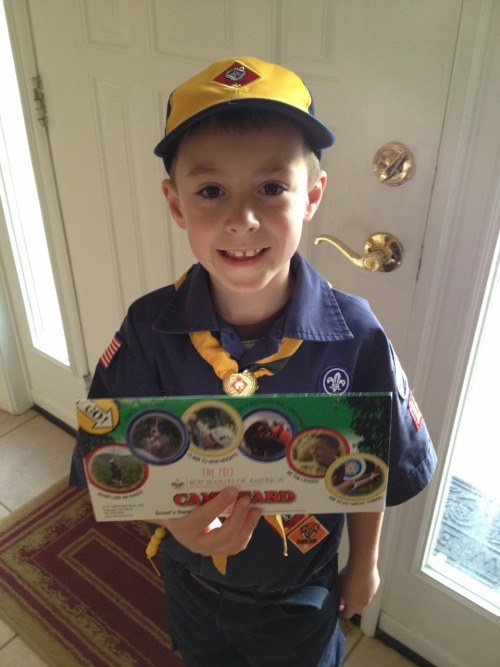 The Boy is a natural salesman. He sold his first allotment of Cub Scout Camp Cards and is ready for some more!