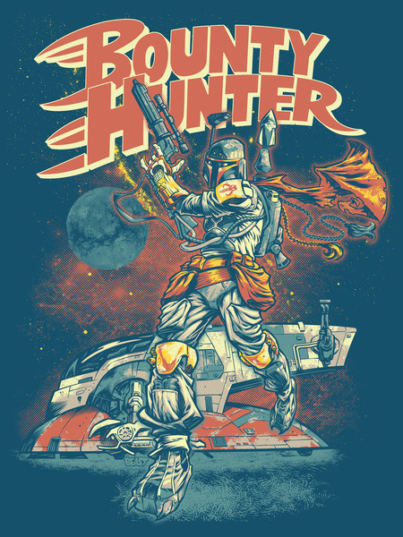 Cool Boba Fett Bounty Hunter Geek Art Joey Paur, geektyrant.com Here's a cool Star Wars inspired illustration featuring the badass galactic bounty hunter Boba Fett. It was created by Beast Wreck. The art has a great pulp style feel to it. For those of you interested in buying a print click here.