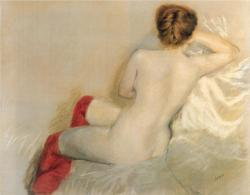 the-paintrist:   Giuseppe de Nittis, Nude with Red Stockings, 1879  Giuseppe De Nittis (February 25, 1846 – August 12, 1884) was an Italian painter whose work merges the styles of Salon art and Impressionism.