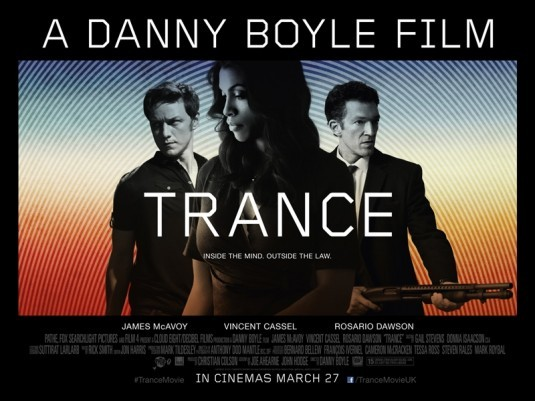 REVIEW: TRANCE Danny Boyle is a filmmaker whom we can always trust to give us something fresh and exciting in any genre or no genre at all. Ranging from 1996′s brutally real but energetic drug-addiction dark comedy Trainspotting to 2002′s grippingly scary zombie-movie reinvention 28 Days Later… to 2005′s warm, whimsical Millions and 2009′s fanciful rags-to-riches fairy tale Slumdog Millionaire, and 2010′s harrowing survival story 127 Hours, he certainly can't be accused of repeating himself or having a formulaic oeuvre. Now, with Trance, Boyle defies expectations again. A twisty, dreamlike, labyrinthine psychological neo-noir puzzle, Trance, is such a stylish, hyper-cool, brilliantly crafted trip that it can easily be spoken in the same breath as Memento, Vanilla Sky, Eternal Sunshine of the Spotless Mind, Inception and, most recently, Looper. For a brain-teasing parlor trick, it works like gangbusters. CLICK HERE TO READ THE FULL REVIEW AT FESTIVAL OF FILMS