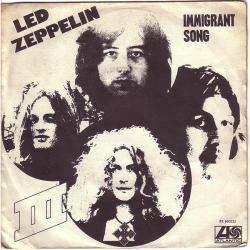 "Led Zeppelin ""Immigrant Song"" / ""Hey Hey What Can I Do"" Single - Atlantic Records, Belgium (1970)."