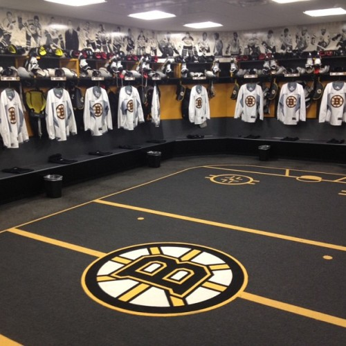 Skates sharpened, helmets placed, jerseys ready for players to arrive for morning skate… #BruinsAreBack