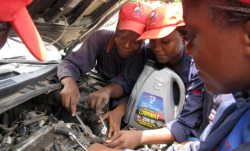 "npr:  (via Lady Mechanic Initiative Trains Women For 'The Best Job' : NPR) In Nigeria, the Lady Mechanic Initiative trains women to fix cars. Founder Sandra Aguebor-Ekperuoh started the initiative after having a vision from God. She has trainee mechanics all around the country. Some of the young women are from disadvantaged backgrounds, some former sex workers and others just hugely enthusiastic. Faith Macwen, who graduated from the Lady Mechanic Initiative in 2009, now works for a top automobile company in Nigeria. Macwen says men at work were initially dismissive. ""Actually, at first, the male were feeling, 'You can't do it, that it's our world.' But we made them realize — I made them realize — we can do it. I want other ladies to take up the opportunities. Go out. When you have a flair for something, go in for it,"" she says. ""Don't let anybody tell you you can't do it. You can do it."" Photo: Ofeibea Quist-Arcton/NPR"