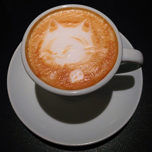 Had a cat-face latte while waiting for her to do some errands