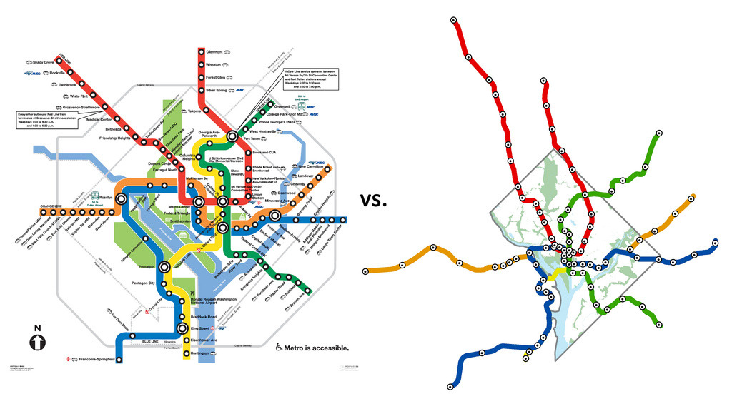 thisisjamesj:  The official WMATA transit map (designed for clarity & legibility) vs. the actual geographical layout of the DC Metro Metro_Compared (by Don Whiteside)