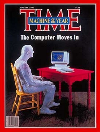 "30 years ago today, Time Magazine named ""The Computer"" its person of the year:  In its story about the pick, the magazine quoted an ad that attempted to answer the question ""Will someone please tell me what a personal computer can do?"" ""A personal computer, it says, can send letters at the speed of light, diagnose a sick poodle, custom-tailor an insurance program in minutes, test recipes for beer."" It was an ad for Apple Computer.  Check it out"
