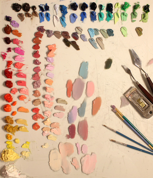 daboxx:  slone:  I get a little OCD with my palette.   ohhhh i love dried paint, especially when it's peeled of a palette.