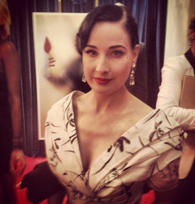 The beautiful @ditavonteese at @louboutinworld's celebration of artist Ye Hongxing