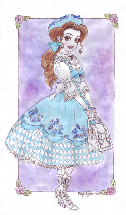 taijavigilia:  Lolita Belle. My own dress sense is questionable at best but I love looking up and drawing beautiful/unusual/historical/all of the above outfits.  I'm not a lolita aficionado so I referenced from this although I made the bag bigger than the ones I've otherwise seen, Belle would need one that takes at least two to three books.