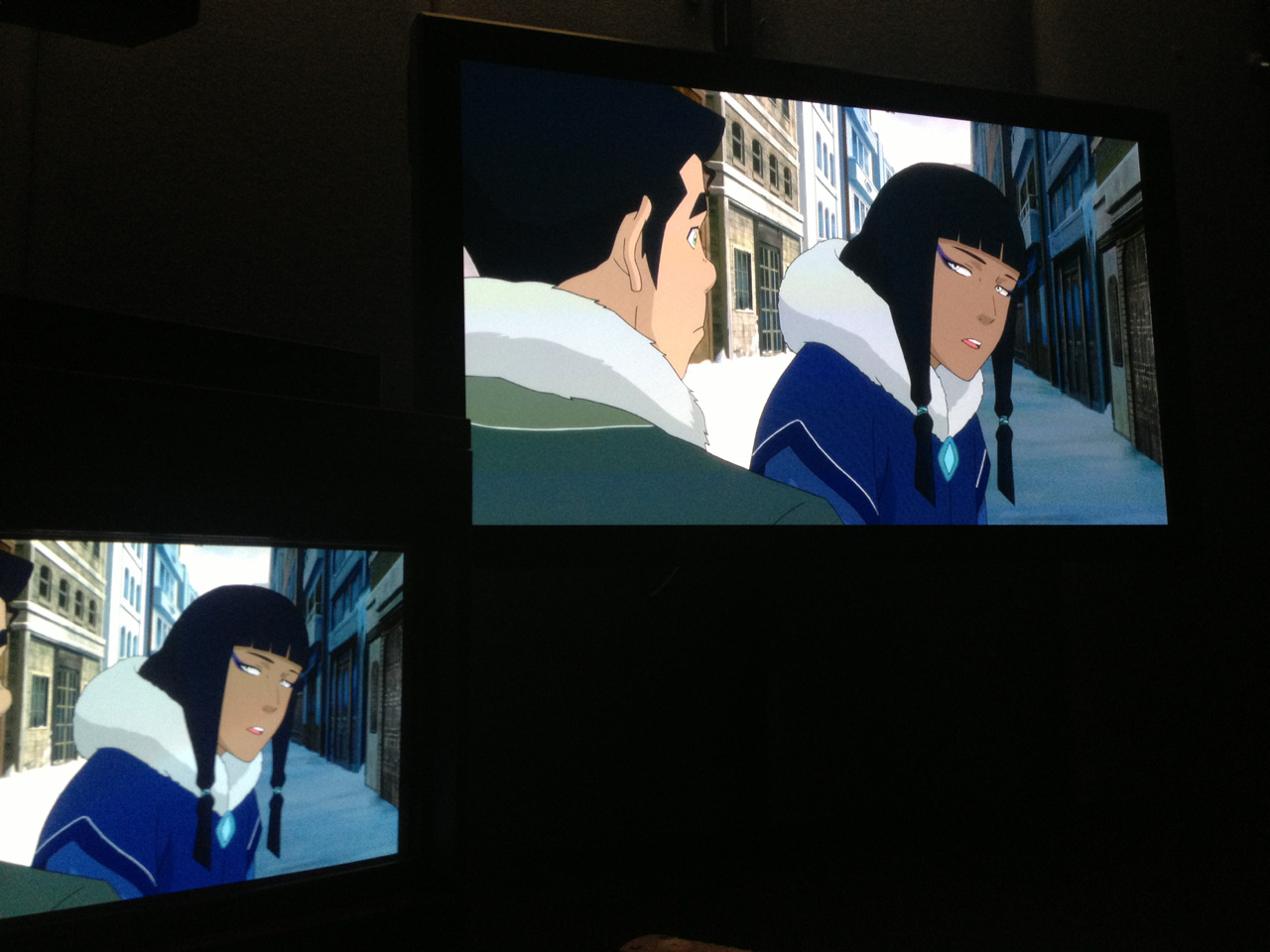 bryankonietzko:  Book 2 color correction with Eska and Bolin.  Mary: At least she's still brown and not whitewashed like some people were in the panel art…