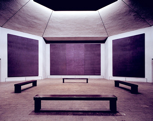 "Rothko Chapel, 1964-1967  The Rothko Chapel is a non-denominational chapel in Houston, Texas founded by John and Dominique de Menil and opened in 1971. The interior serves not only as a chapel, but also as a major work of modern art. On its walls are fourteen black but color hued paintings by Mark Rothko. The shape of the building, an octagon inscribed in a Greek cross, and the design of the chapel was largely influenced by the artist.Susan J. Barnes states ""The Rothko Chapel…became the world's first broadly ecumenical center, a holy place open to all religions and belonging to none. It became a center for international cultural, religious, and philosophical exchanges, for colloquia and performances. And it became a place of private prayer for individuals of all faiths"". Fourteen of Rothko's paintings are displayed in the chapel. Three walls display triptychs, while the other five walls display single paintings. Beginning in 1964, Rothko began painting a series of black paintings, which incorporated other dark hues and texture effects. A typical question raised by visitors viewing the massive black canvases which adorn the walls of the chapel includes some variant of: ""Where are the paintings?"" The hue of the paintings vary on the lightning of the moment of the day. (x)"