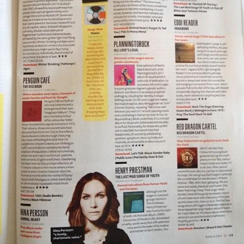 4* in Q Magazine for Nina Persson #AnimalHeart