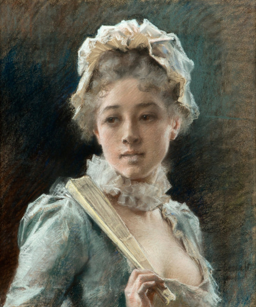 monsieurleprince:  Albert Edelfelt (1845 - 1905) - A young woman with a fan