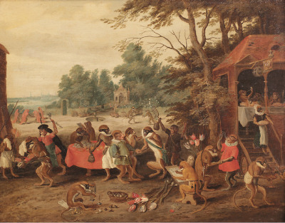 An Allegory of Tulipomania by Jan Breughel II (Antwerp 1601-1678) - This exceptional newly discovered Allegory of Tulipomania can be added to a group of so called singeries painted by Jan Breughel II. These satires, which refer to the economic folly of the previously valuable plants depict speculators as brainless monkeys in contemporary upper-class dresses. Three other paintings by Jan Breughel are known which also refer to the Tulipomania that seized the Netherlands in the first half of the 17th century.