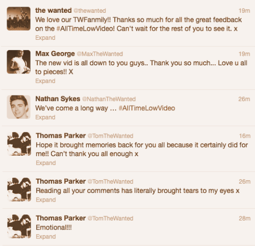 sykescasm:  Some of the boys appreciation tweets.