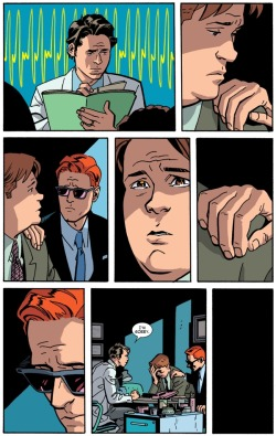 "This is the final page of this month's Daredevil issue by Mark Waid & Chris Samnee. I placed it here because, even though it may spoil plot points, it's wonderful and needs to be discussed. This is a perfect example of the ability of comics to present information in a manner totally unique to the medium. First, there is only one line of dialogue; the narrative is delivered via images only. The heartbeat behind the doctor visually represents the intensity of the situation. Looking at the panel, you can ""hear"" the rapid beating the same way Matt Murdock (aka Daredevil) would. Notice that it fills the panel in such a way that only the doctor and the EKG spikes are seen. This shows us that Murdock is aware of only two things in this room: the doctor and his heartbeat.  Panels 2-5, Foggy (Matt's best friend) acknowledges Matt's comforting arm on his shoulder, then looks into his friend's eyes, despite knowing that Matt can't see into his back. I love how the background disappears during this short sequence. For Matt and Foggy, this one moment was between them and no one else, so the background fades away.  In panel 6, Matt lowers his head because, thanks to his ability to hear the doctor's spiked heart rate, he knows what's about to happen. Rereading this whole page, it's much more touching knowing that Matt is aware of Foggy's condition prior to the doctor's apology. Foggy has tears in his eyes in panel 4 because he understands, and he knows what's coming.  Finally, the last panel, instead of being omitted, is all black, reinforcing the bleakness of the situation.  This whole sequence could only work in a comic. It could be argued that it would work in a film, but a film would determine the pace, whereas in the comic, the reader does that for him/herself. That moment with Matt's hand on Foggy's shoulder could last 10 minutes if a reader wishes. And the cuts in the sequences—close-up on Foggy's welling eyes to Matt's hand to close-up of Matt's face—would be too frantic in a film. The editing would seem strange and erratic. As a comic, however, it enhances the strengths of the medium.Seriously. Go out and read this issue. Buy it. Download it. Steal it from your friend (but not me). If you want to see an example of how comics can be literary by being unconventional, this is it."