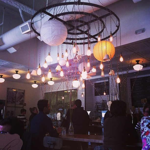 Mad chandelier-ness at Tatte Bakery. It's so rare there is a polar bear charm hanging from it. #yuppie #yippie