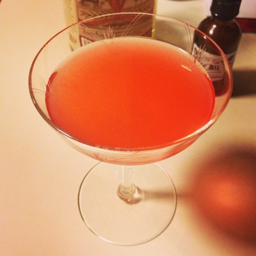 American Mirage 2013 1 1/2 oz Rhuby 1 1/4 oz sour mix 3/4 oz Campari 3 dashes blood orange bitters Combine all ingredients but bitters over ice and shake well. Double strain into a cocktail glass and float bitters on surface. Enjoy mirage of compromise while driving nation over fiscal cliff. Cynicism aside, modified from original recipe to eliminate soda water and replace lemonade with sour mix. Makes for a much more solid cocktail, IMHO. Original