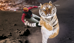 spacegeist:  Have a jockey riding a tiger on the moon.