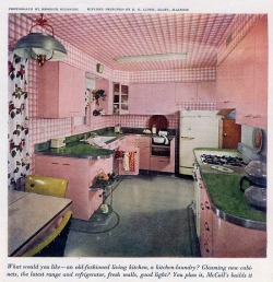 theniftyfifties:  All pink kitchen design from McCall's magazine, April 1951.  i want a gingham ceiling.