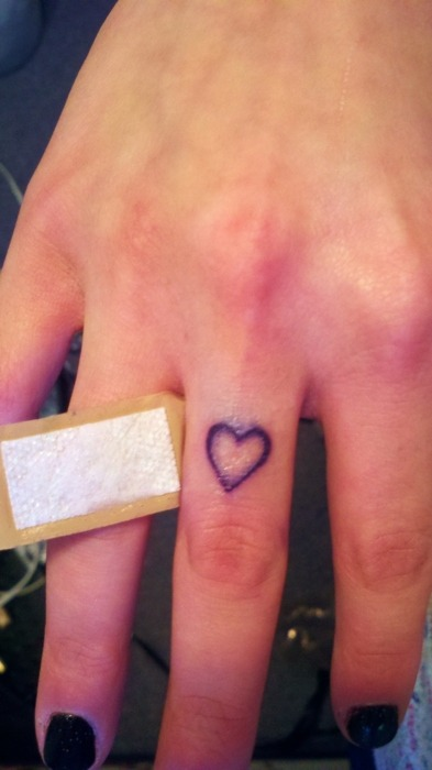 Fuck Yeah, Tattoos! — a heart i got on my middle finger, because i love… on We Heart It - http://weheartit.com/entry/19588162/via/emzylouwho