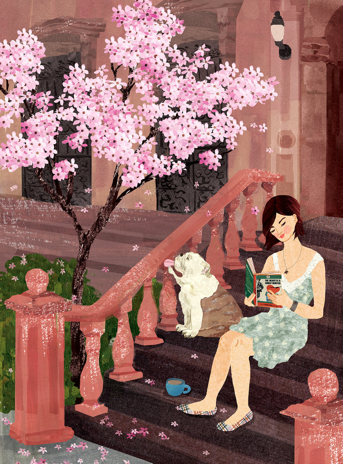 """Brooklyn,"" Illustration of a girl reading The Heart is a Lonely Hunter. Aimée Sicuro. Sicuro received a BFA from Columbus College of Art and Design. Currently, she lives and works as a free-lance illustrator in Brooklyn where she rediscovers life everyday on the vibrant streets of New York."