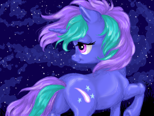 starlight-gaze:  scribbletheunicorn:  Starlight Gaze… Such a beautiful pony, no? You can follow her adventures on her webcomic, Hayshire!  Wow, this is awesome! Our first fanart for Hayshire!