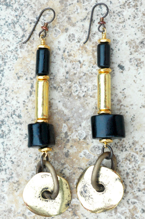 Black Coral & Gold Disc Statement Earrings